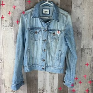 Forever 21 light-wash semi distressed jean jacket